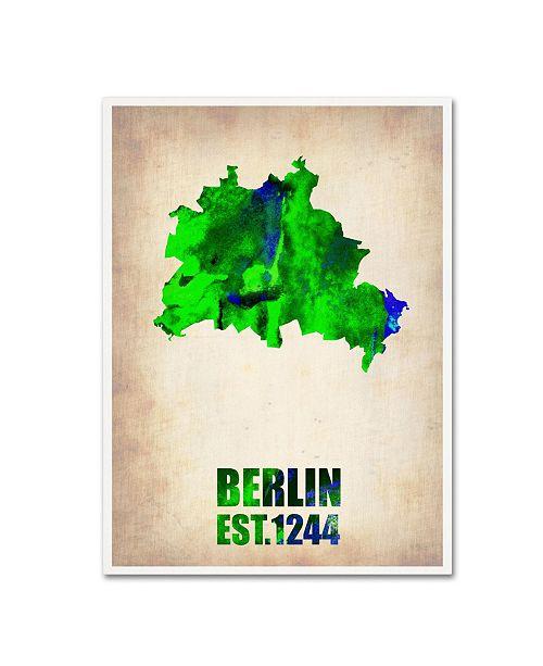 "Trademark Global Naxart 'Berlin Watercolor Map' Canvas Art - 18"" x 24"" x 2"""