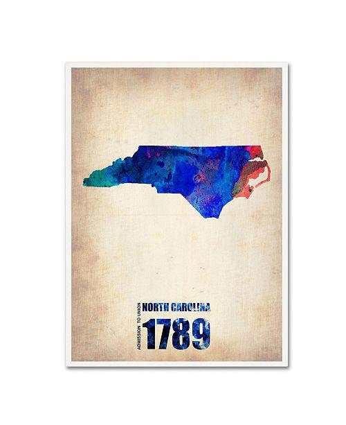 "Trademark Global Naxart 'North Carolina Watercolor Map' Canvas Art - 35"" x 47"" x 2"""