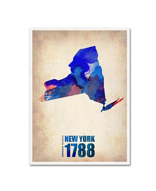 "Trademark Global Naxart 'New York Watercolor Map' Canvas Art - 35"" x 47"" x 2"""