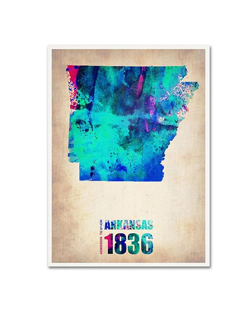 "Trademark Global Naxart 'Arkansas Watercolor Map' Canvas Art - 18"" x 24"" x 2"""