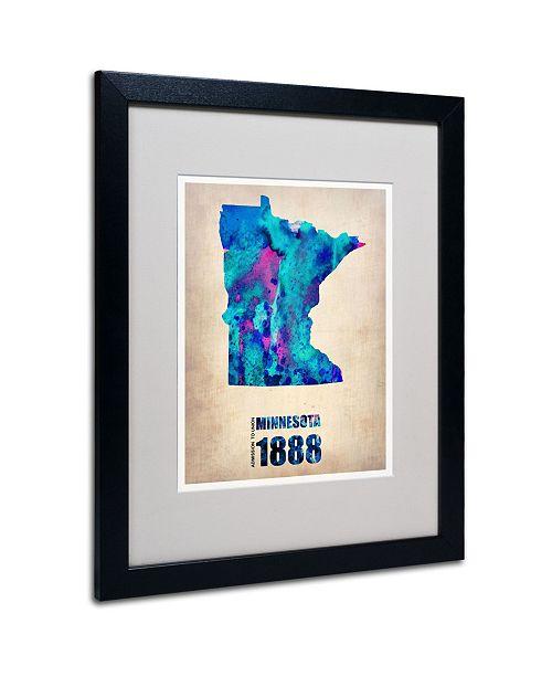 """Trademark Global Naxart 'Minnesota Watercolor Map' Matted Framed Art - 20"""" x 16"""" x 0.5"""""""