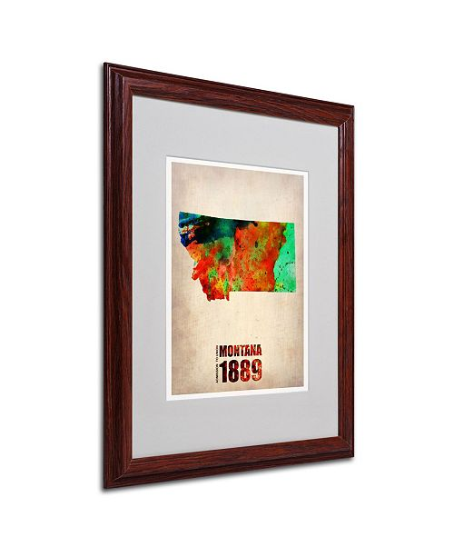 "Trademark Global Naxart 'Montana Watercolor Map' Matted Framed Art - 16"" x 20"" x 0.5"""