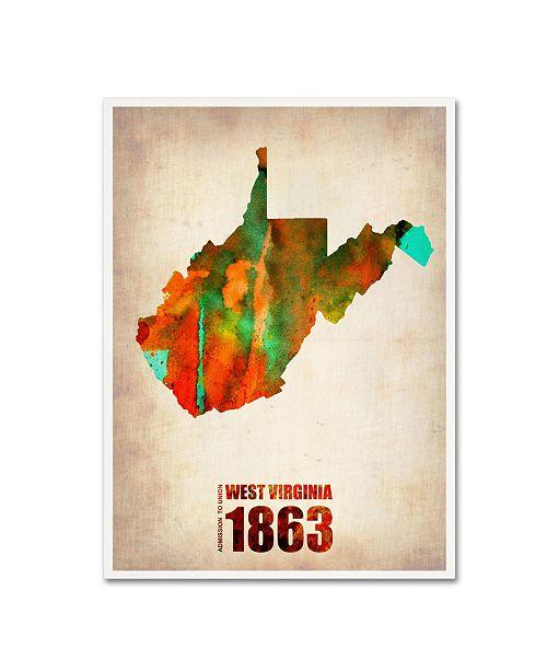 "Trademark Global Naxart 'West Virginia Watercolor Map' Canvas Art - 18"" x 24"" x 2"""