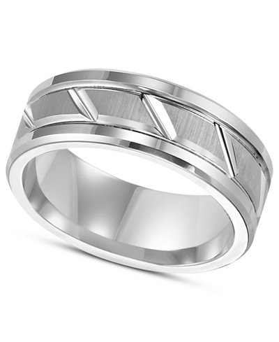 triton mens white tungsten carbide ring 8mm diamond cut wedding band - Macy Wedding Rings