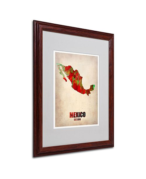 """Trademark Global Naxart 'Mexico Watercolor Map' Matted Framed Art - 16"""" x 20"""" x 0.5"""""""