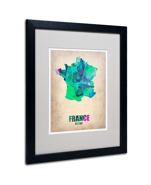 "Trademark Global Naxart 'France Watercolor Map' Matted Framed Art - 20"" x 16"" x 0.5"""
