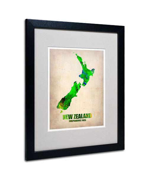 """Trademark Global Naxart 'New Zealand Watercolor Map' Matted Framed Art - 20"""" x 16"""" x 0.5"""""""