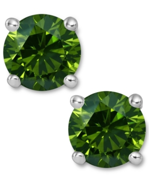 14k White Gold Earrings, Treated Green Diamond Stud Earrings (2 ct. t.w.)
