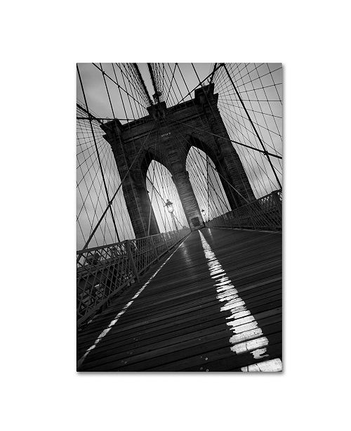 """Trademark Global Moises Levy 'Brooklyn Bridge Study I' Canvas Art - 19"""" x 12"""" x 2"""""""