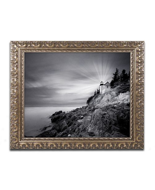 """Trademark Global Moises Levy 'Bass Harbor Lighthouse' Ornate Framed Art - 14"""" x 11"""" x 0.5"""""""