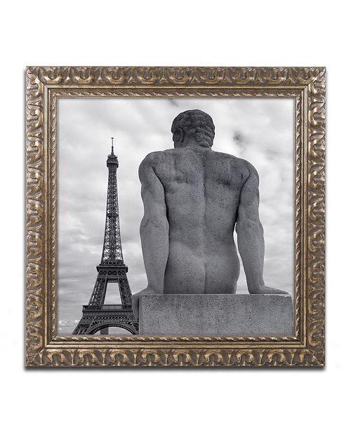 "Trademark Global Moises Levy 'Eiffel and Man' Ornate Framed Art - 11"" x 11"" x 0.5"""