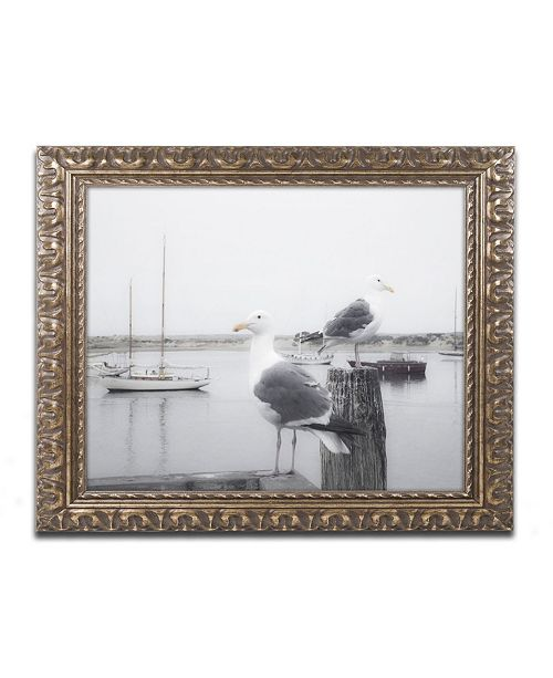 "Trademark Global Moises Levy 'Two Seagulls & Boats' Ornate Framed Art - 14"" x 11"" x 0.5"""