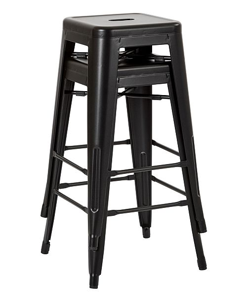 """Office Star Bristow 26"""" Antique Metal Barstools, 2-pack"""