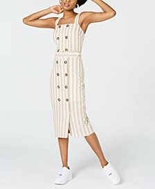 Juniors' Striped Button-Front Midi Dress
