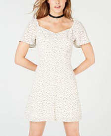 City Studios Juniors' Printed Flutter-Sleeve A-Line Dress