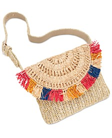 I.N.C. Straw Fringe Belt Bag, Created for Macy's