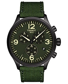 Men's Swiss Chronograph Chrono XL Green Fabric Strap Watch 45mm
