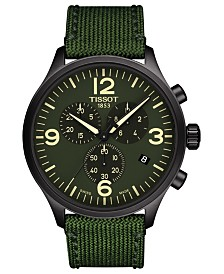 Tissot Men's Swiss Chronograph Chrono XL Green Fabric Strap Watch 45mm