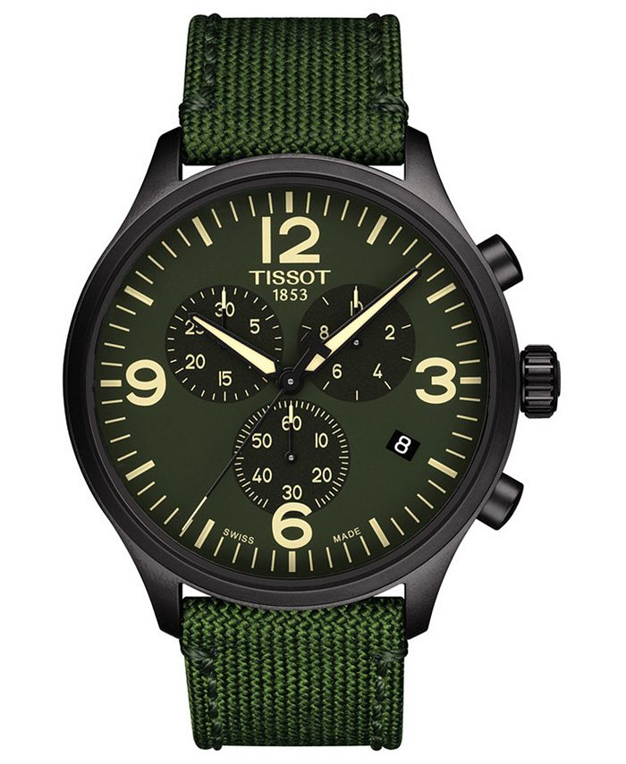 Tissot - Men's Swiss Chronograph Chrono XL Green Fabric Strap Watch 45mm