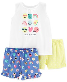 Carter's Little & Big Girls 3-Pc. Emoji Pajamas Set