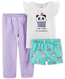 Carter's Toddler Girls 3-Pc. Pan-Cakes Pajamas Set