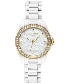 COACH Women's Astor White Ceramic Bracelet Watch 28mm