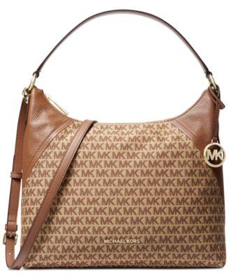 f404d46236abda Michael Kors Aria Jacquard Signature Shoulder Bag & Reviews - Handbags &  Accessories - Macy's