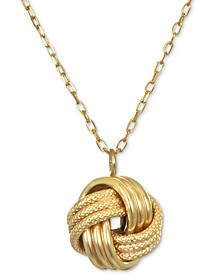 """Knot 18"""" Pendant Necklace in 14k Gold"""