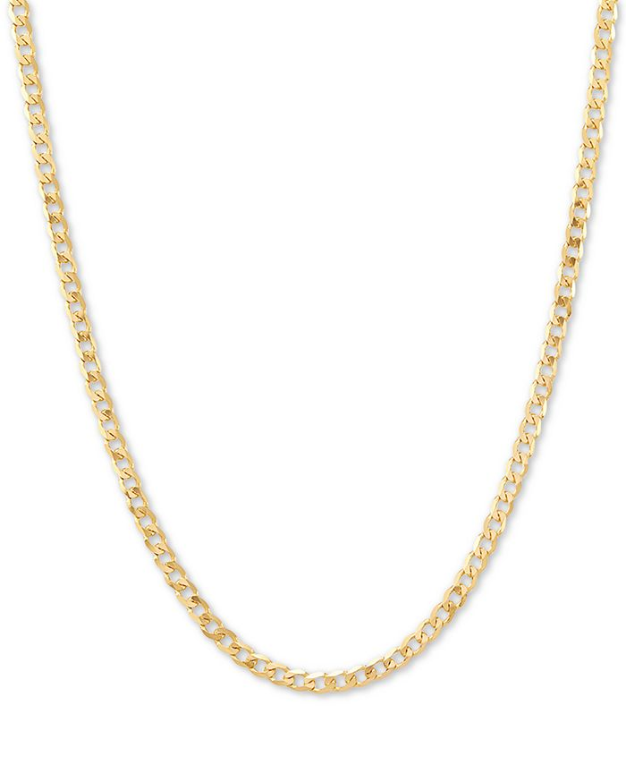 """Italian Gold - Fine Curb Link 18"""" Chain Necklace in 14k Gold"""