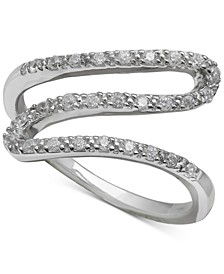 Cubic Zirconia Wavy Statement Ring in Sterling Silver, Created for Macy's