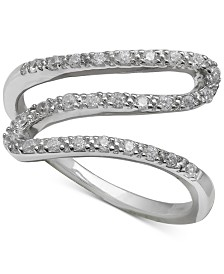 Giani Bernini Cubic Zirconia Wavy Statement Ring in Sterling Silver, Created for Macy's
