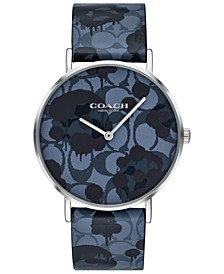 Women's Perry Blue Printed Leather Strap Watch 36mm, Created For Macy's