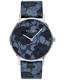 COACH Women's Perry Blue Printed Leather Strap Watch 36mm, Created For Macy's