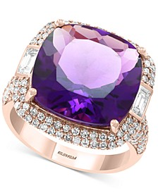 EFFY® Amethyst (11-7/8 ct. t.w.) & Diamond (9/10 ct. t.w.) Ring in 14k Rose Gold