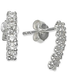 Giani Bernini Cubic Zirconia Curved Bar Stud Earrings in Sterling Silver, Created for Macy's