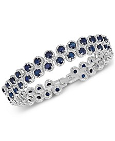 Sapphire (4 ct. t.w.) & White Sapphire (1 ct. t.w.) Bangle Bracelet in Sterling Silver