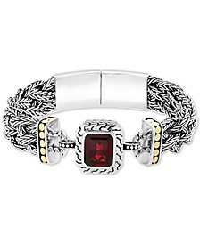 EFFY® Garnet (6-1/3 ct. t.w.) Bangle Bracelet in Sterling Silver & 18K Yellow Gold over Sterling Silver
