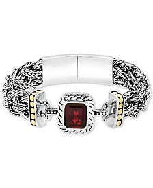 EFFY® Garnet (6-1/3 ct. t.w.) Bangle Bracelet in Sterling Silver & 18K Yellow Gold over Sterling Silver