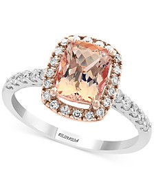 Gemstone Bridal by EFFY® Morganite (1-1/5 ct. t.w.) & Diamond (1/3 ct. t.w.) Ring in 18k White Gold and Rose Gold