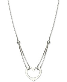 "Giani Bernini Looped Chain Heart Pendant Necklace in Sterling Silver, 16"" + 2"" extender, Created for Macy's"