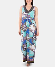 NY Collection Printed Knot-Detail Dress