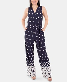 NY Collection Printed Tie-Waist Jumpsuit
