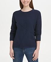 48e2473954f DKNY Pieced Mixed-Media Sweater