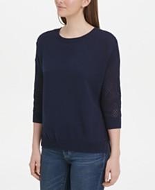 DKNY Cotton Mesh-Sleeve Sweater