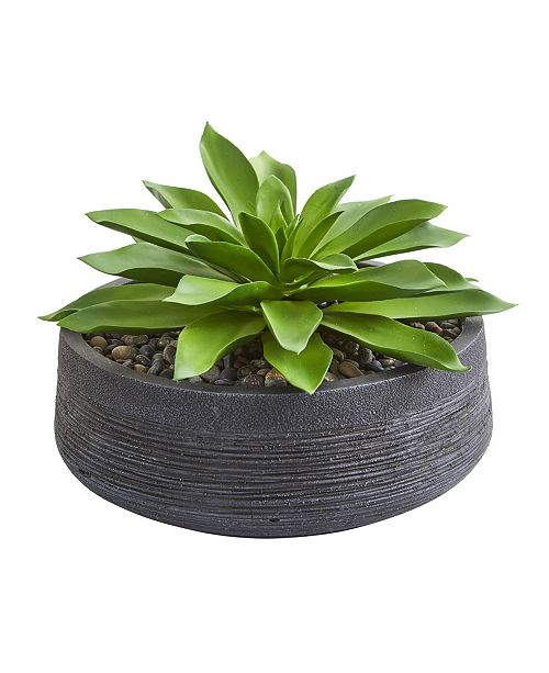 Nearly Natural Large Succulent Artificial Plant in Decorative Bowl
