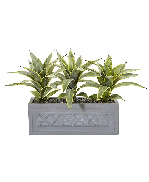 Nearly Natural Sansevieria Artificial Plant in Stone Planter