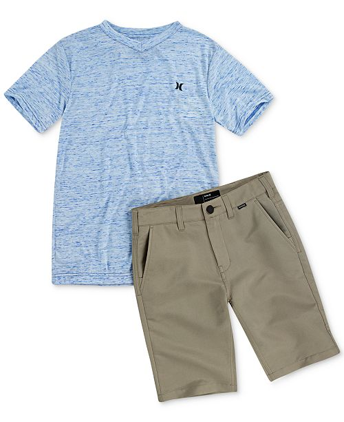 Hurley Toddler & Little Boys Cloud Staple V-Neck T-Shirt & Dri-FIT Chino Shorts