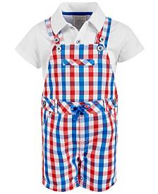 First Impressions Baby Boy's Checkered Shortfall Set, Created for Macy's