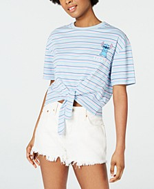 Juniors' Stitch Striped Tie-Front T-Shirt