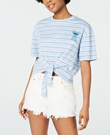 Freeze Juniors' Stitch Striped Tie-Front T-Shirt